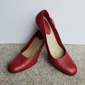 Calvin Klein Textured Red Leather Pumps (8.5)
